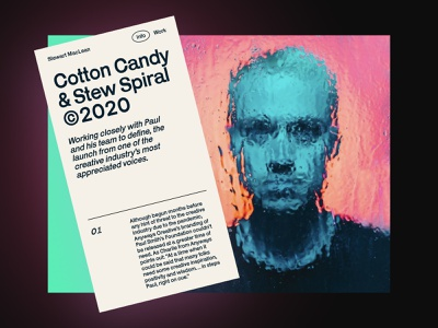 Cotton Candy & Stew Spiral blog design cyan vintage poster glass blur rain spiral blog post blog ux clean branding exploration website web minimal ui typography design