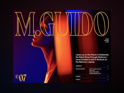 M.Guido — Personal Web Info header magazine whitespace layout grid info about poster stroke dark ux clean branding exploration website minimal web ui typography design