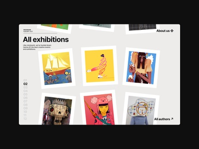 Exhibitions®'21 — Gallery Homepage scroll slider poster authors exhibition art grid layout white space grid visual identity brand website web minimal ui typography design