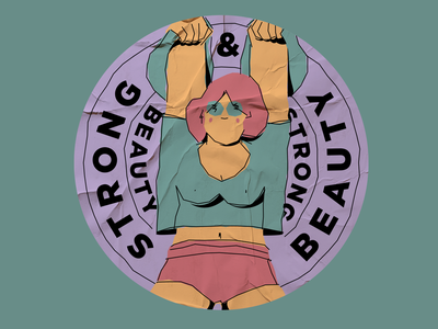 Stickers for strong and beautiful sport athlete character print design design illustration