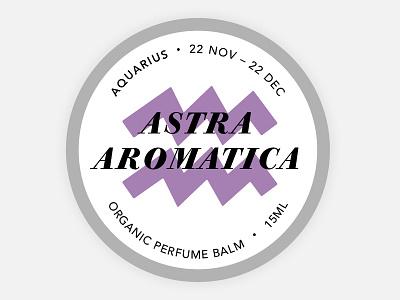 Perfume Tin Label - Aquarius aquarius balm astrology cosmetics branding round tin label organic zodiac perfume