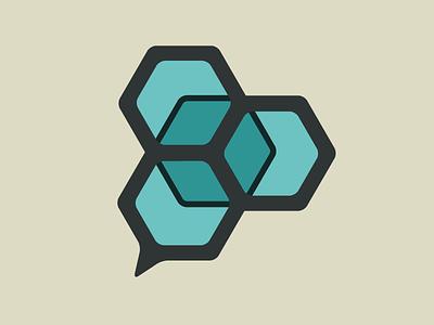 Hexagon Cube Logo hive tesselate speech bubble cube hexagon branding logo