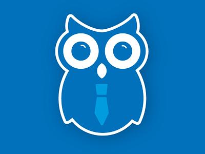 Owl Mascot Logo branding eyes blue tie animal character mascot logo owl