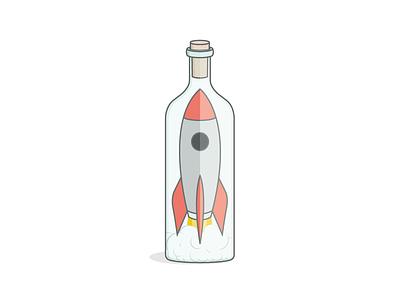 Rocket Ship (In A Bottle) spaceship bottle logo illustration ship in a bottle rocket