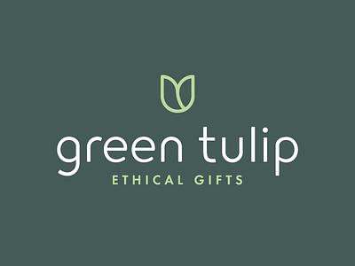Green Tulip Ethical Gifts Logo rebrand identity branding dark line gift shop gifts ethical minimal flower tulip green logo