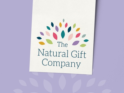 The Natural Gift Company Logo Design tag design product tag gift tag tag celebrate warm bright colorful logo inspiration logomark branding sustainable ethical organic natural gift burst leaves logo
