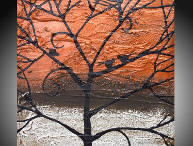 love birds in copper, metallic tree art