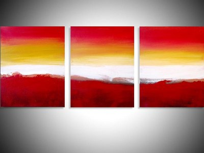 abstract triptych painting \