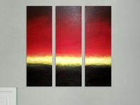 sunset dream large triptych art 48 x 48 inches