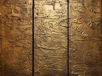 """ Antique Gold "" LARGE WALL art triptych wall art copper"