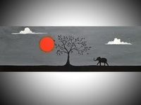 elephant at sunset, animal art wildlife african artwork