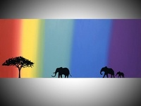 elephants on rainbow isle, african animal art