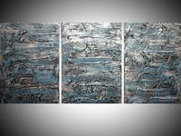 turquoise art triptych painting