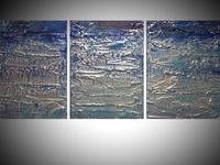 turquoise art triptych painting 48 x 20 inches