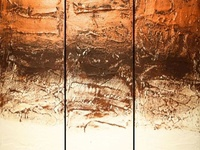 Golden triptych painting in 3 panel for modern home and office