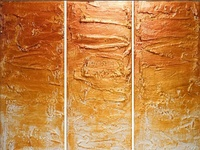 Gold Triptych Artwork for home and office 3 panel wall