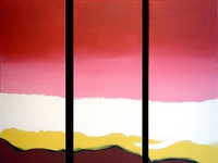 Rainbow Painting in triptych red yellow white brown art