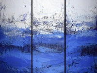 Big Blue Triptych Painting 3 panel abstract wall art