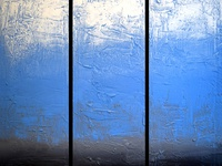 Ice Blue Triptych Painting impasto effect for home and office