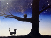 owl and the pussycat illustration art starry night art