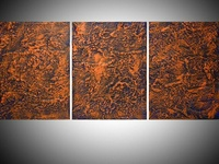 triptych orange and blue impasto artwork for home and office