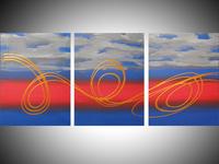 """"""" Golden Sky """"triptych canvas hand made original wall art"""