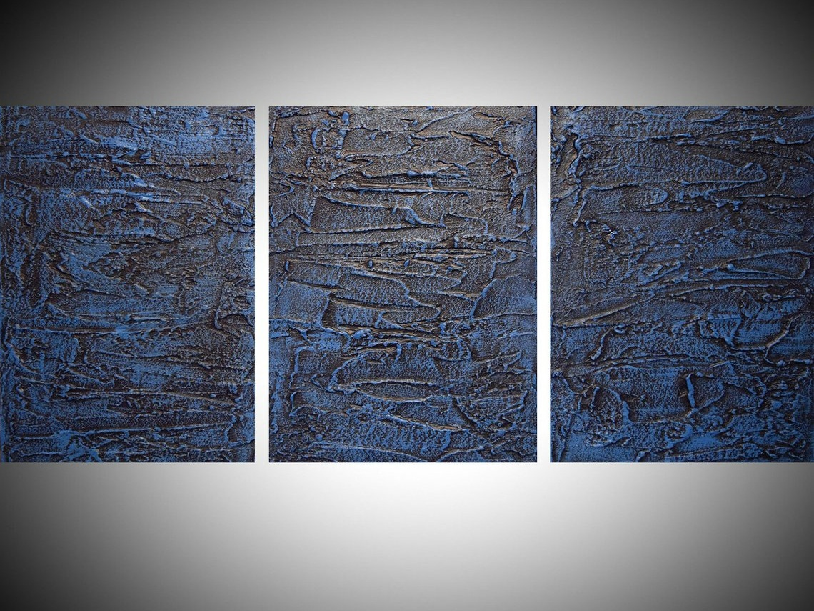 Blue Painting Wall Art Extra Large Triptych 3 Panel