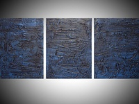 blue painting blue wall art extra large triptych 3 panel modern