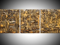 Golden Glow triptych glossy finish