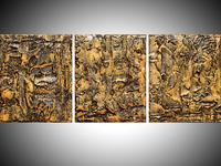 Golden Glow triptych glossy finish