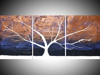 Tree of love and light, landscape abstract mixed media
