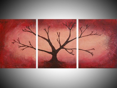 The Red Forest abstract triptych