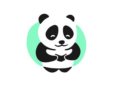 Panda with a book reading book panda vector logos dribbble art logo