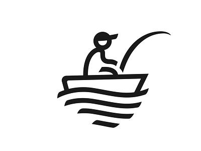 Fisherman fish logo fishing rod fish catch vector logos dribbble icon illustration logo