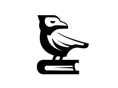 Raven on the book knowledge book branding vector logos dribbble icon logo illustration