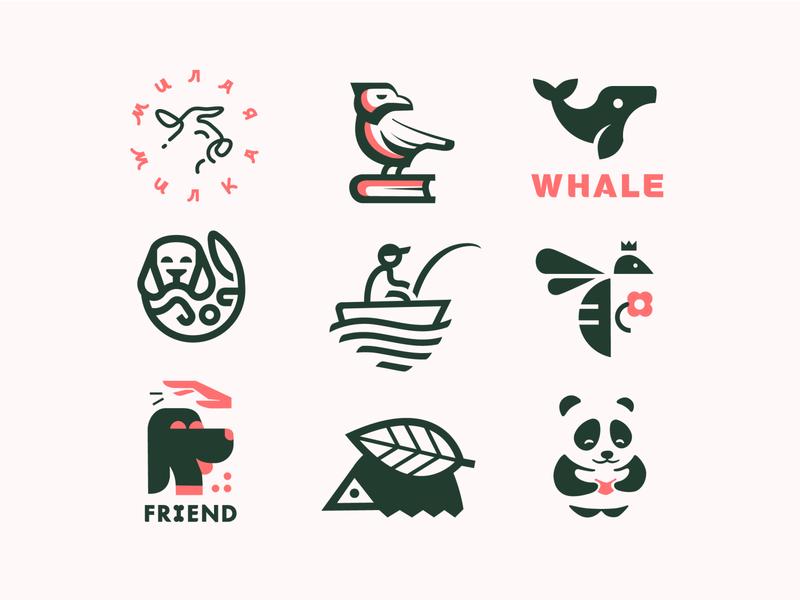 logo set of summer сет vector logos dribbble icon art logo