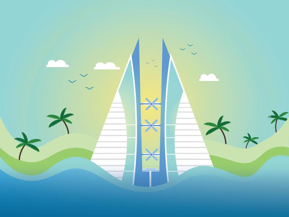 World Trade Center Bahrain branding web flat design vector illustration