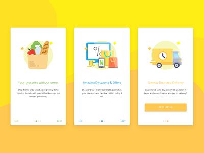 Onboarding Screens for an online Grocery Store app nigeria store ecommerce app mobile walkthrough onboarding