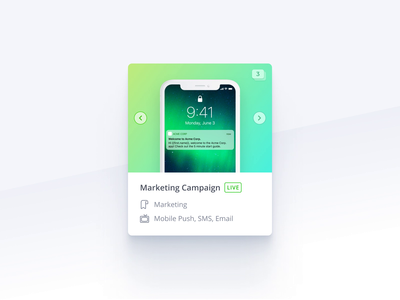 Campaign Thumbnails – Micro-interaction thumbnail thumbnails card design gift card animation gift micro-interaction interaction movement gradient gradients channels campaigns marketing ui element component carousel preview saas multi-shot