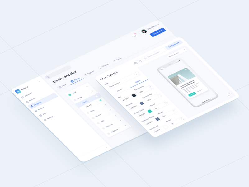 Create a Campaign form elements forms form dashboard isometric illustration isometric ui component push notification mobile notifications b2c b2b saas configuration configure campaign creator campaign system design software system