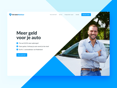 Dé Automakelaar – New Website minimal landingspage landing interface homepage home hero design clean car ux ui