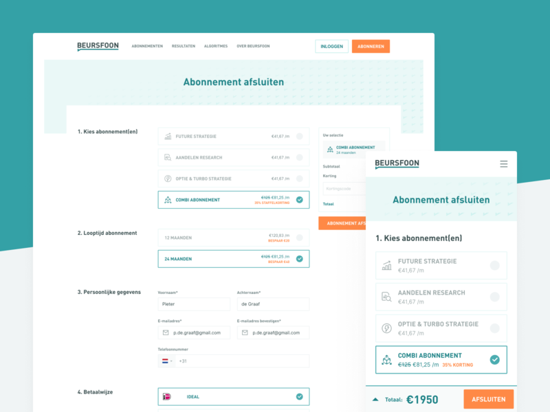Beursfoon – Checkout Form price table pricing table subscription responsive design ecommerce interface steps wizard form design identity product identity product design b2c forms form