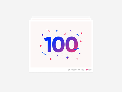 100th Dribbble Shot! cards animation cards card 100 dribbble shots dribbble shot celebrate celebration party milestone count number hundred 100 shots 100 shot gif animation illustration confetti shapes typography
