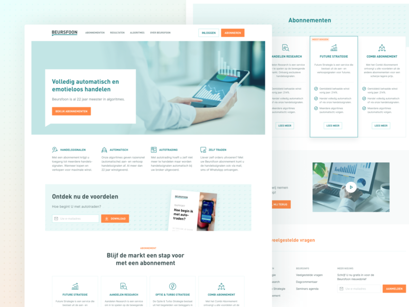 Beursfoon - Screens home homepage hero webdesign interface clean ui responsive design product identity product design branding brand identity stock market trading platform trading stocks stock algorithm investments investment b2c