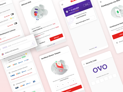 Integration payment method with OVO payment ecommerce app ux animation aplication illustration ui design