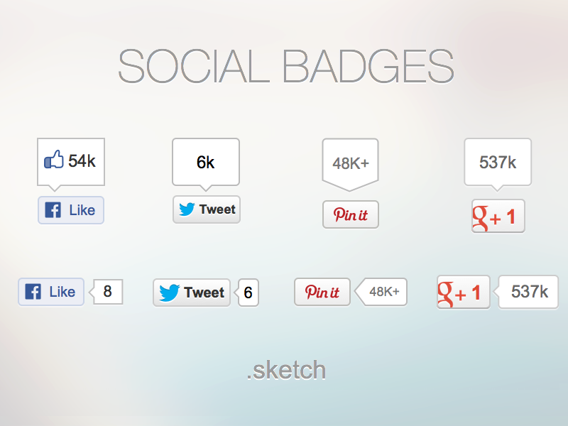 Social badges for Sketch .sketch social icons badges freebies