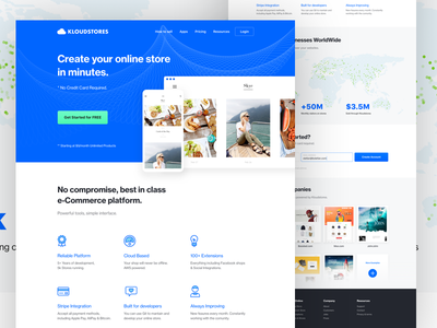 Kloudstores homepage platform mobile icons blue web redesign shop ecommerce kloudstores