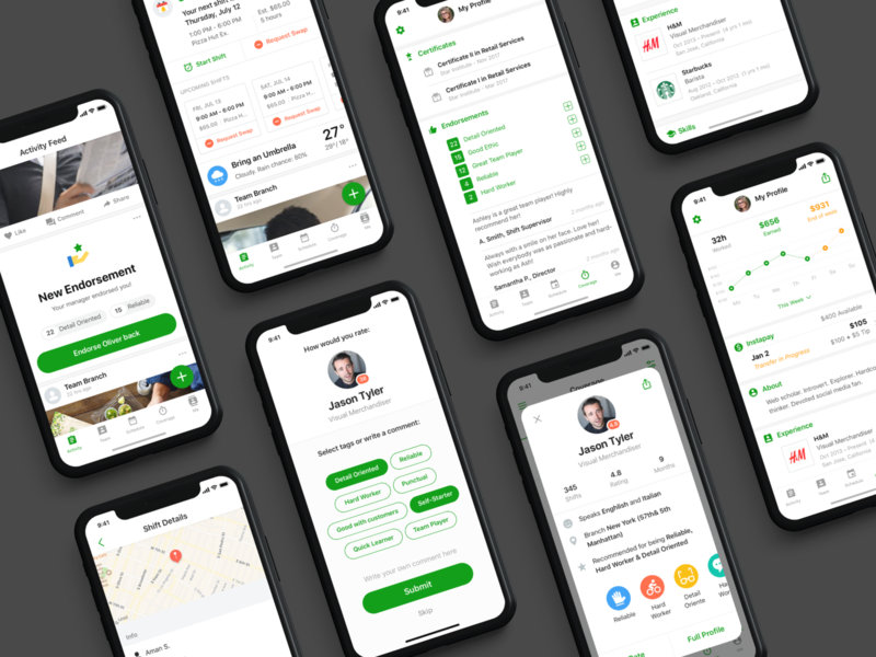 Branch Messenger - Profile retail hourly design system rating feedback mobile endorse social workforce app ios