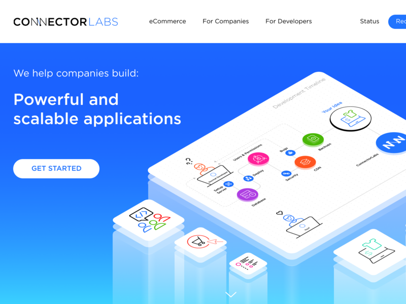 ConnectorLabs platform ecommerce start up wip work in process minimalist simple clean interface isometric illustration isometric simple landing page
