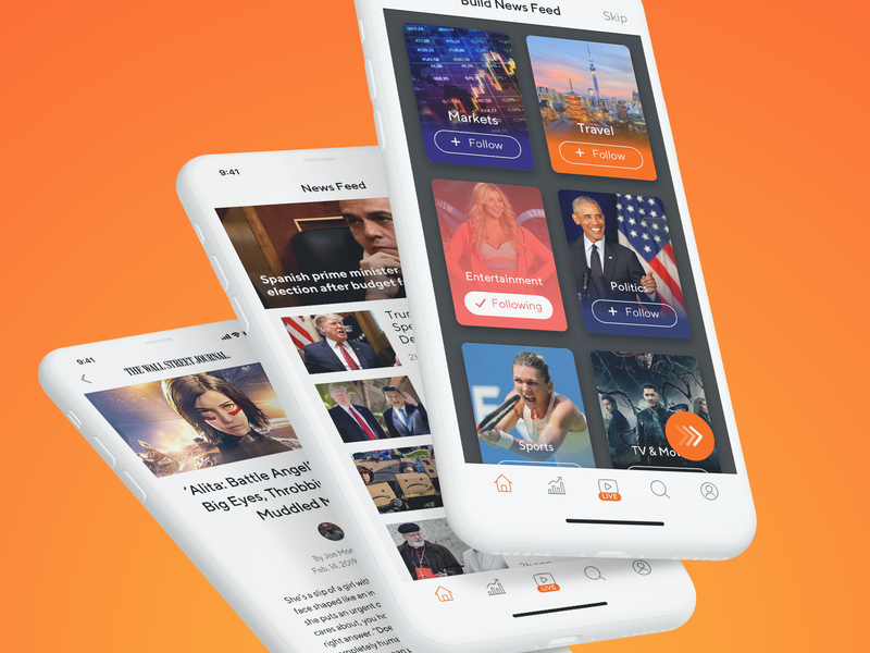 News Concept 30min practice clean orange mini icons uipractice minimal customization feed ios news